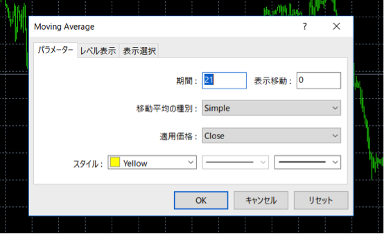 移動平均線のパラメーターの設定画面