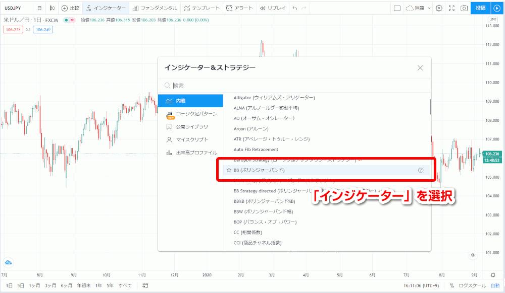 Tradingviewインジケーター選択画面