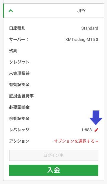 XMスマホ版のレバレッジ確認画面